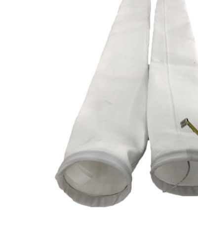 White Round Polyester Filter Bag 120 - 300mm Diameter With High Filtration Accuracy